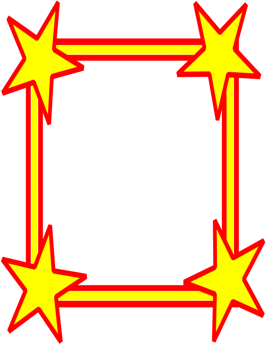 850x1100 Big Stars Border Hot Clip Art Download