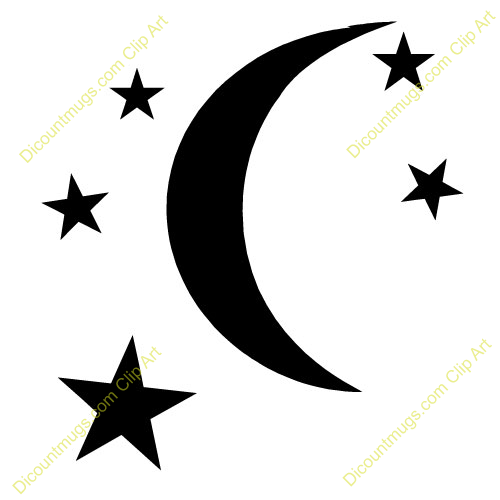 500x500 Moon Star Clipart