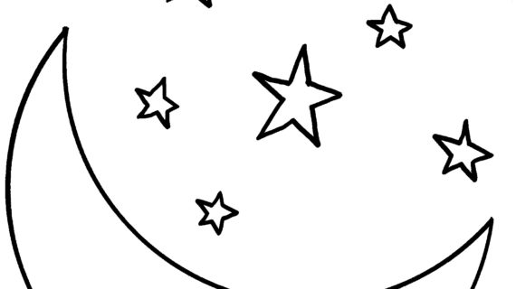 570x320 Moon And Stars Drawing Stars Drawing Outline