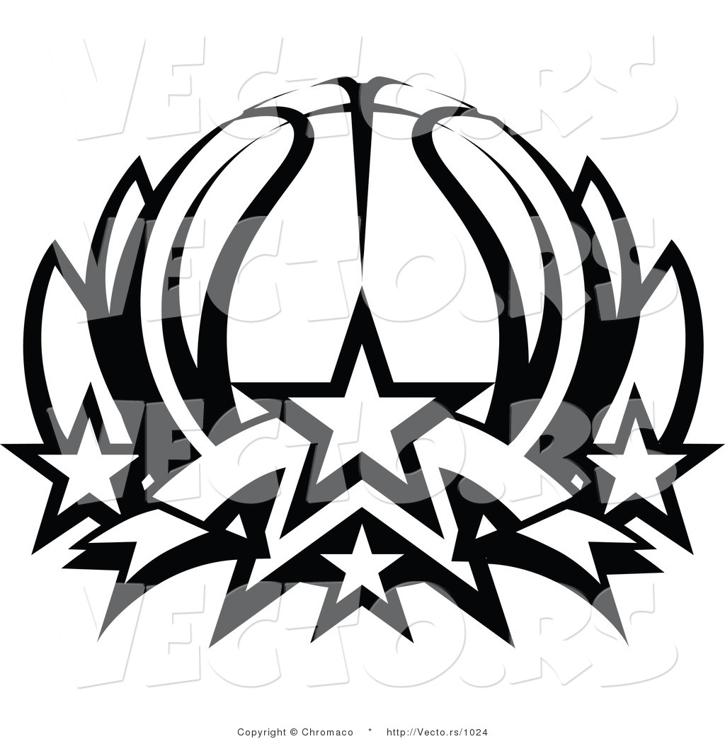 1024x1044 Vector of a Basketball Lotus with Stars