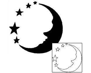 310x250 40 Best Half Moon And Stars Tattoo Outlines Images