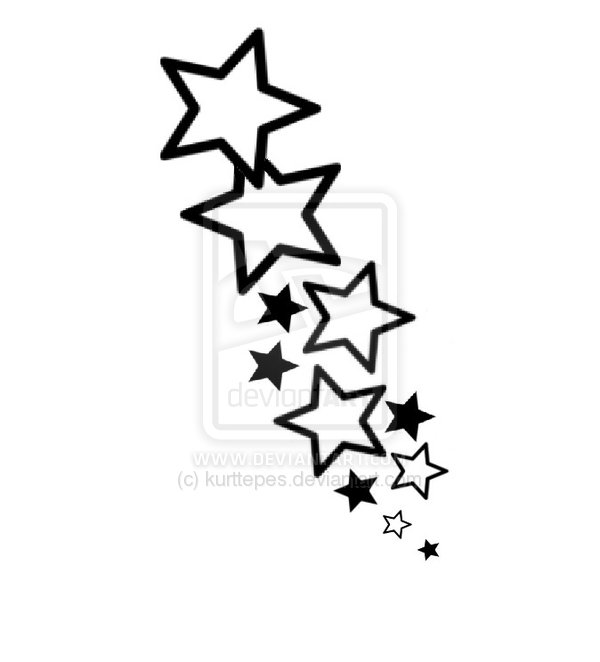 600x662 Black Outline Star Tattoo Designs Dark Black Star Tattoo Designs