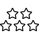 128x128 Five Stars Outlines Icons Free Download