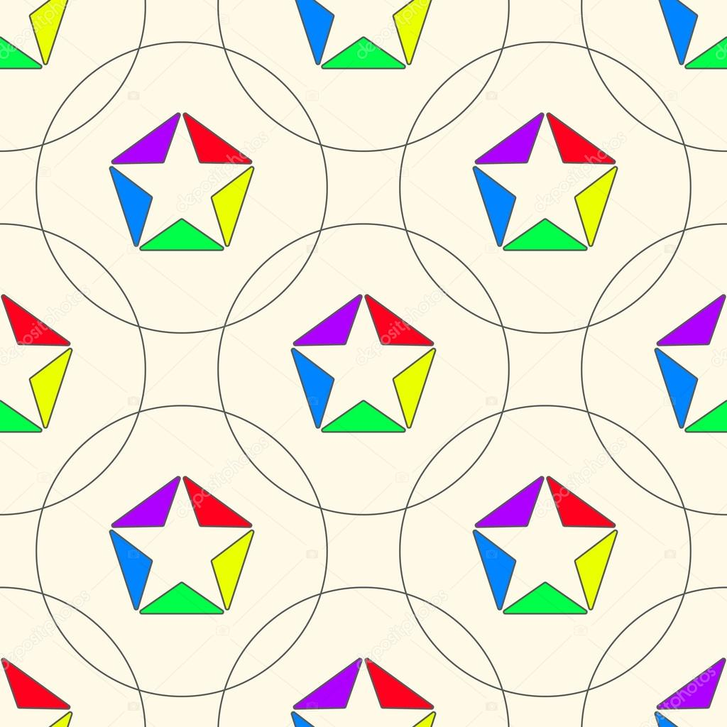 1024x1024 Stars Of Colored Triangles With Outlines And Circles. Seamless P
