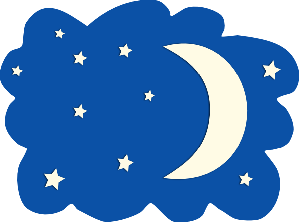 600x447 Night Moon And Stars Clipart