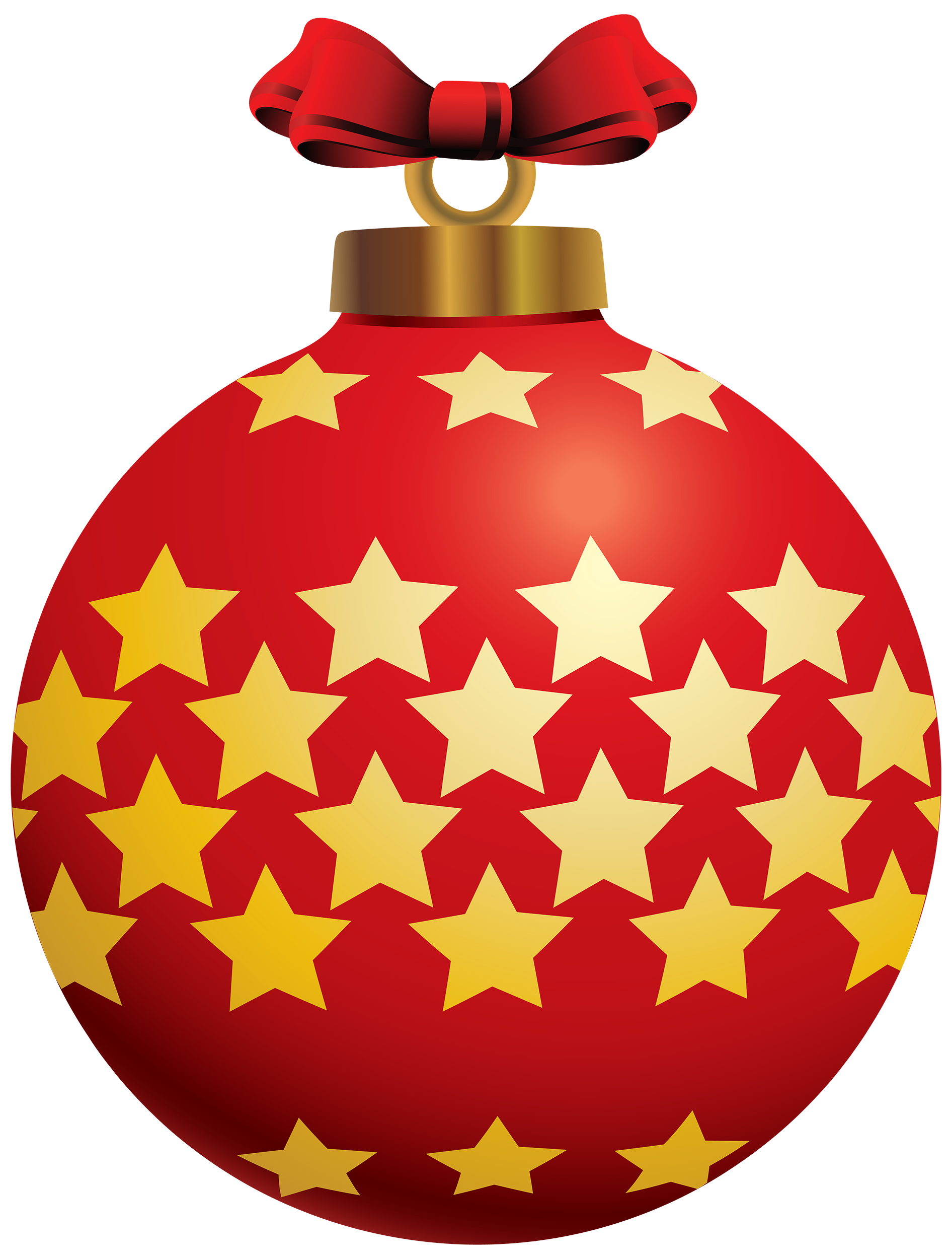 1892x2500 Red Christmas Ball With Stars Png Clipart