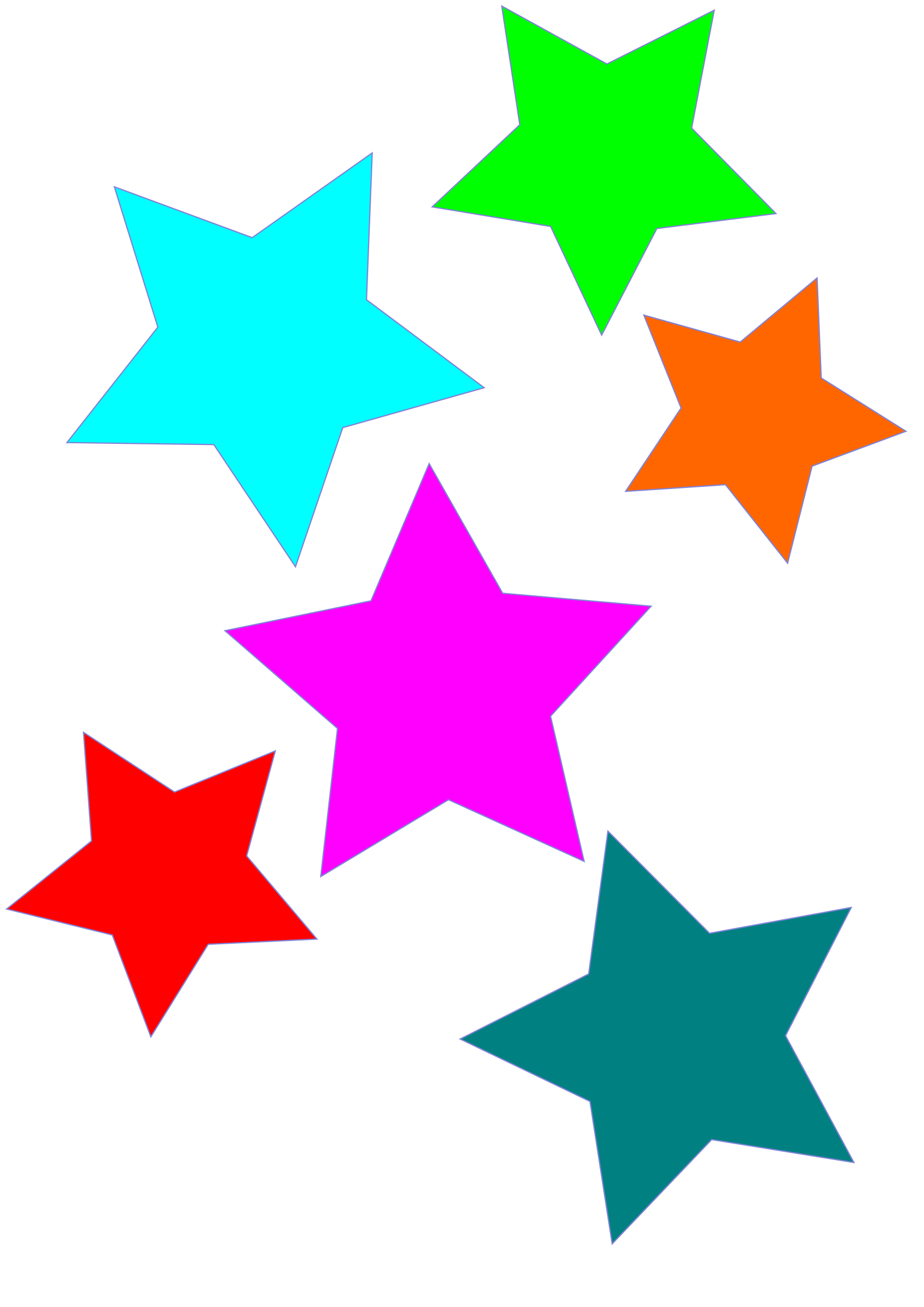 1697x2400 Colorful Stars Clipart Png