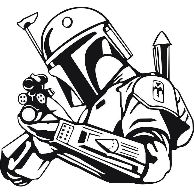 800x800 Hunter Vinyl Wall Decal Star Wars Bobba Fett Bounty Hunter Gun Art