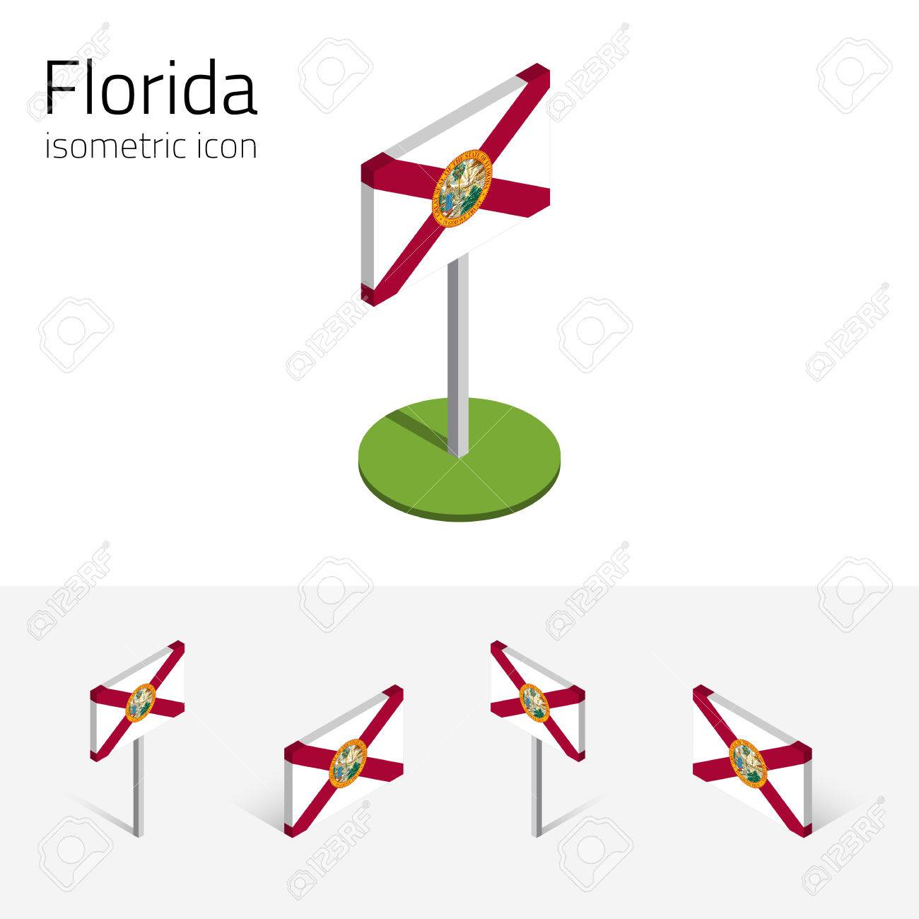 1300x1300 Shape 3d Of Florida Map With Flag Isolated On White Background