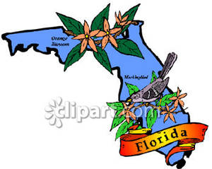 300x239 State Of Florida With State Symbols Of Orange Blossom And