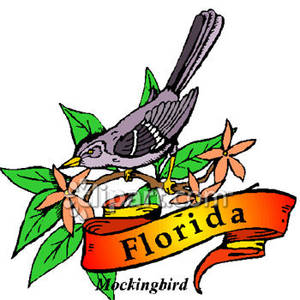 300x300 Bird Of Florida, The Mockingbird Royalty Free Clipart Picture