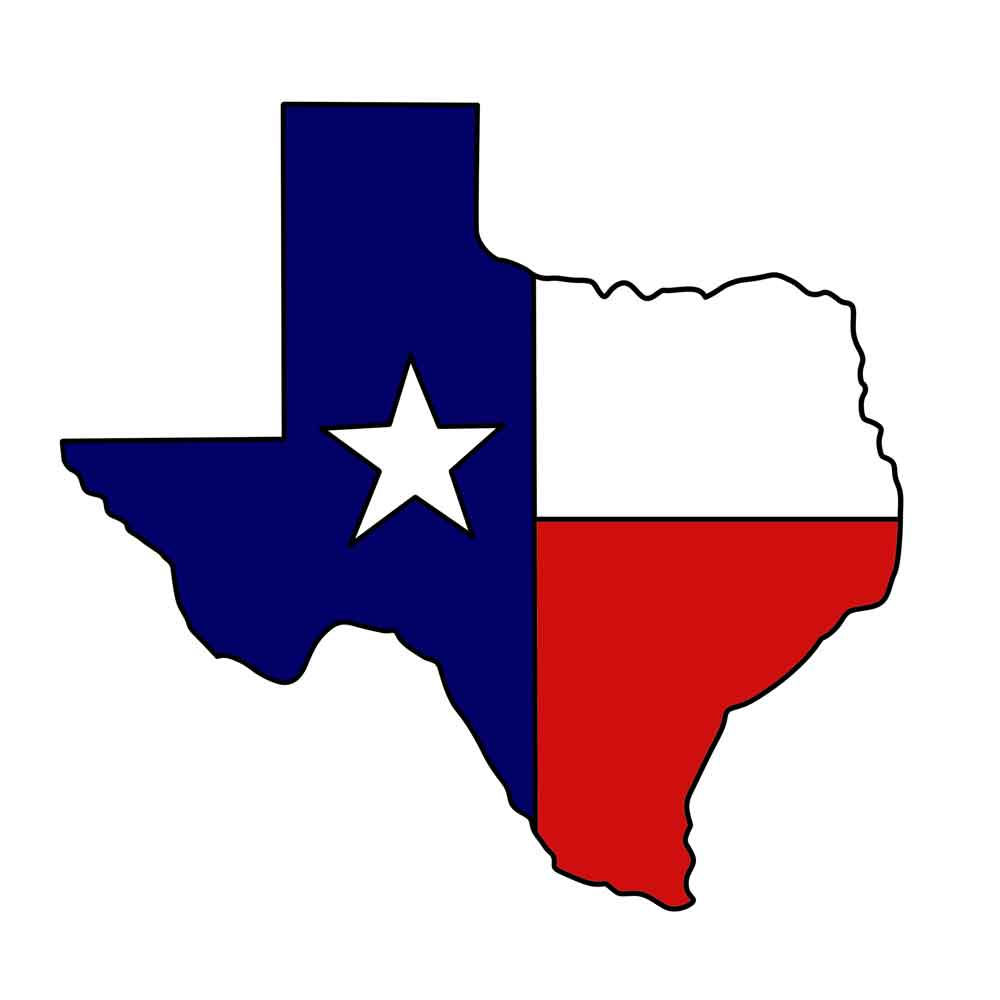 1000x1000 Map Texas State Clipart