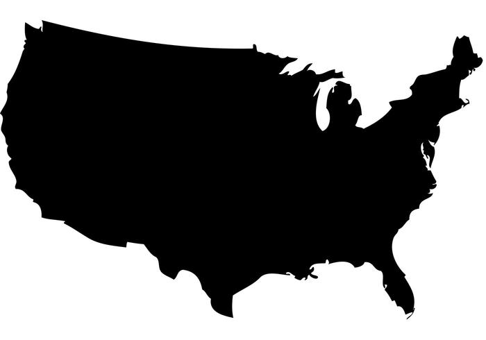 700x490 Free Us Map Silhouette Vector
