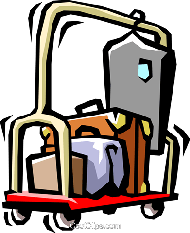 391x480 Hotel Luggage Cart Royalty Free Vector Clip Art Illustration
