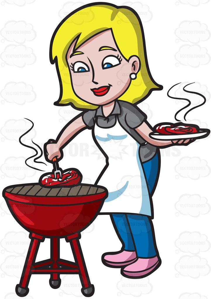 Cartoon Clipart of a Cave Woman with a Grilled Steak on a