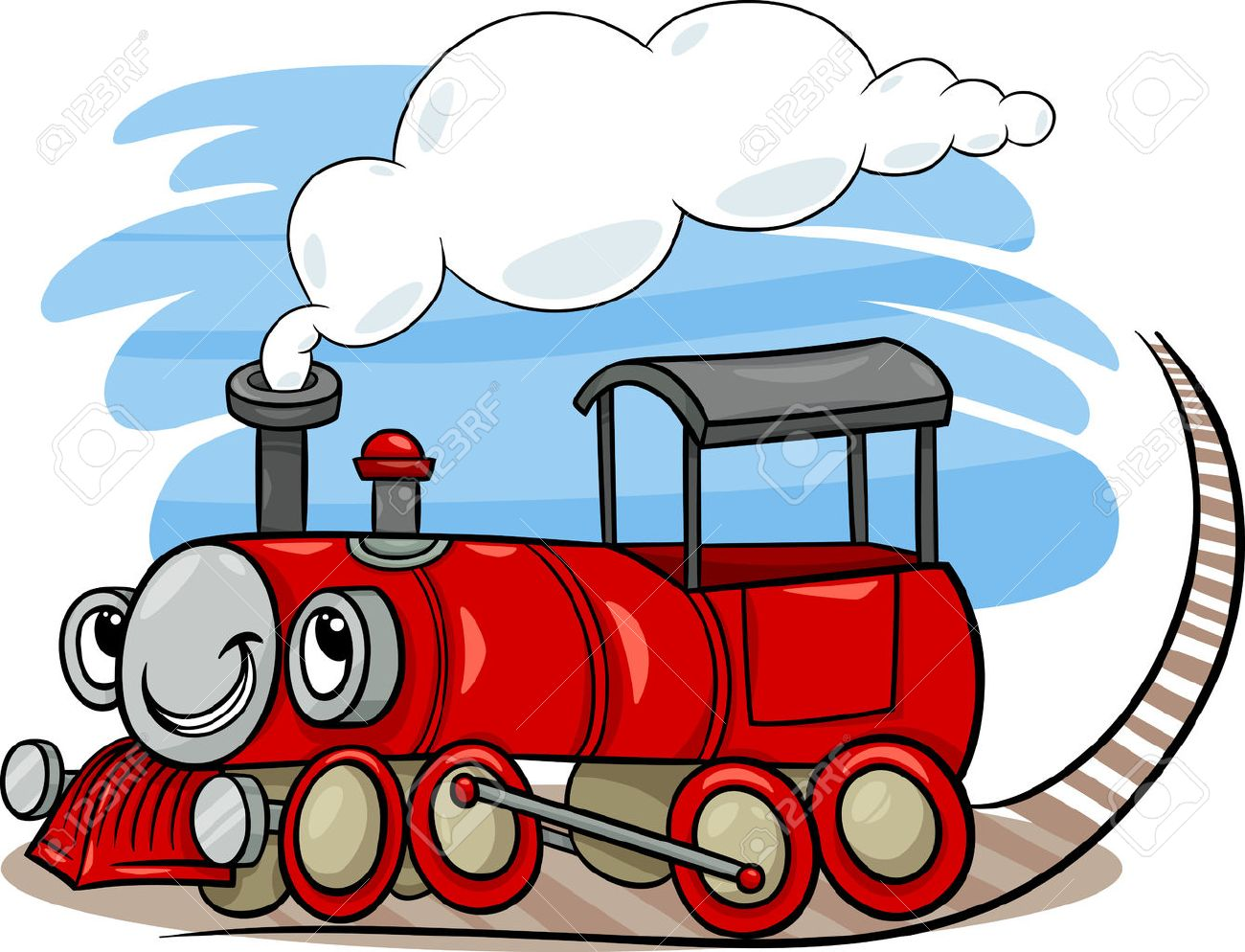 1300x994 Cartoon Illustration Of Funny Steam Engine Locomotive Or Puffer