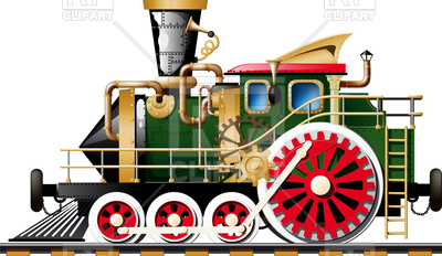 400x232 Fictional Steampunk Steam Locomotive Royalty Free Vector Clip Art