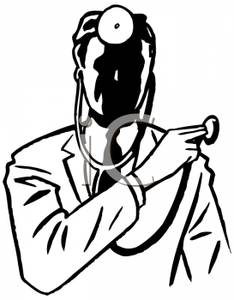 234x300 Picture Black And White Doctor Wearing A Stethoscope And Head Mirror