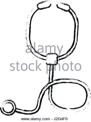 300x403 Silhouette Of Stethoscope Medical With Auriculars Stock Vector Art