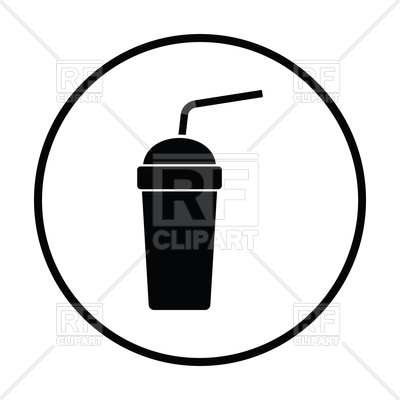 400x400 Disposable Soda Cup And Flexible Stick Icon Royalty Free Vector