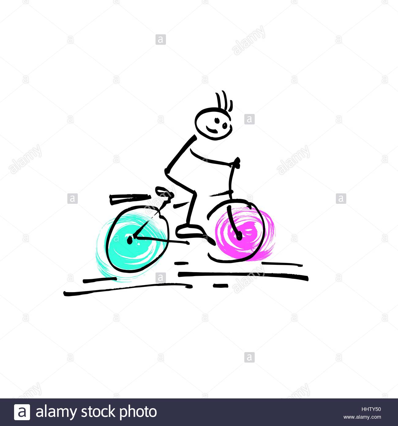 1300x1390 Sketch Doodle Human Stick Figure A Man Riding A Bicycle Stock