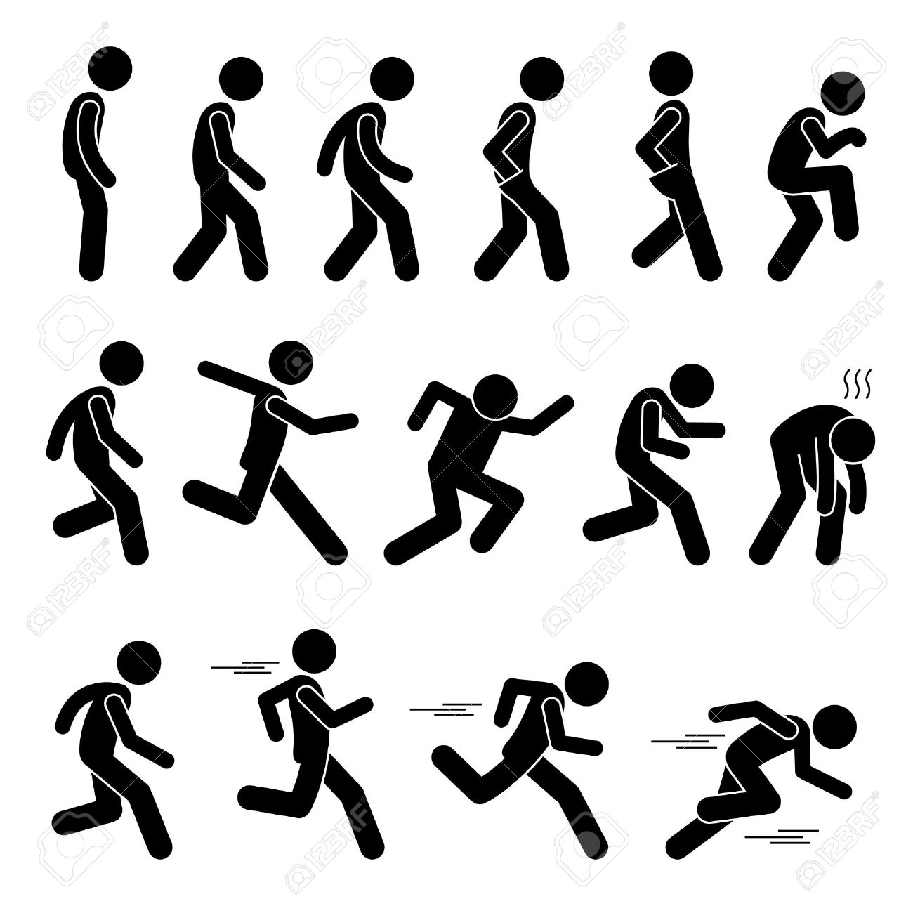 1300x1300 Various Human Man People Walking Running Runner Poses Postures