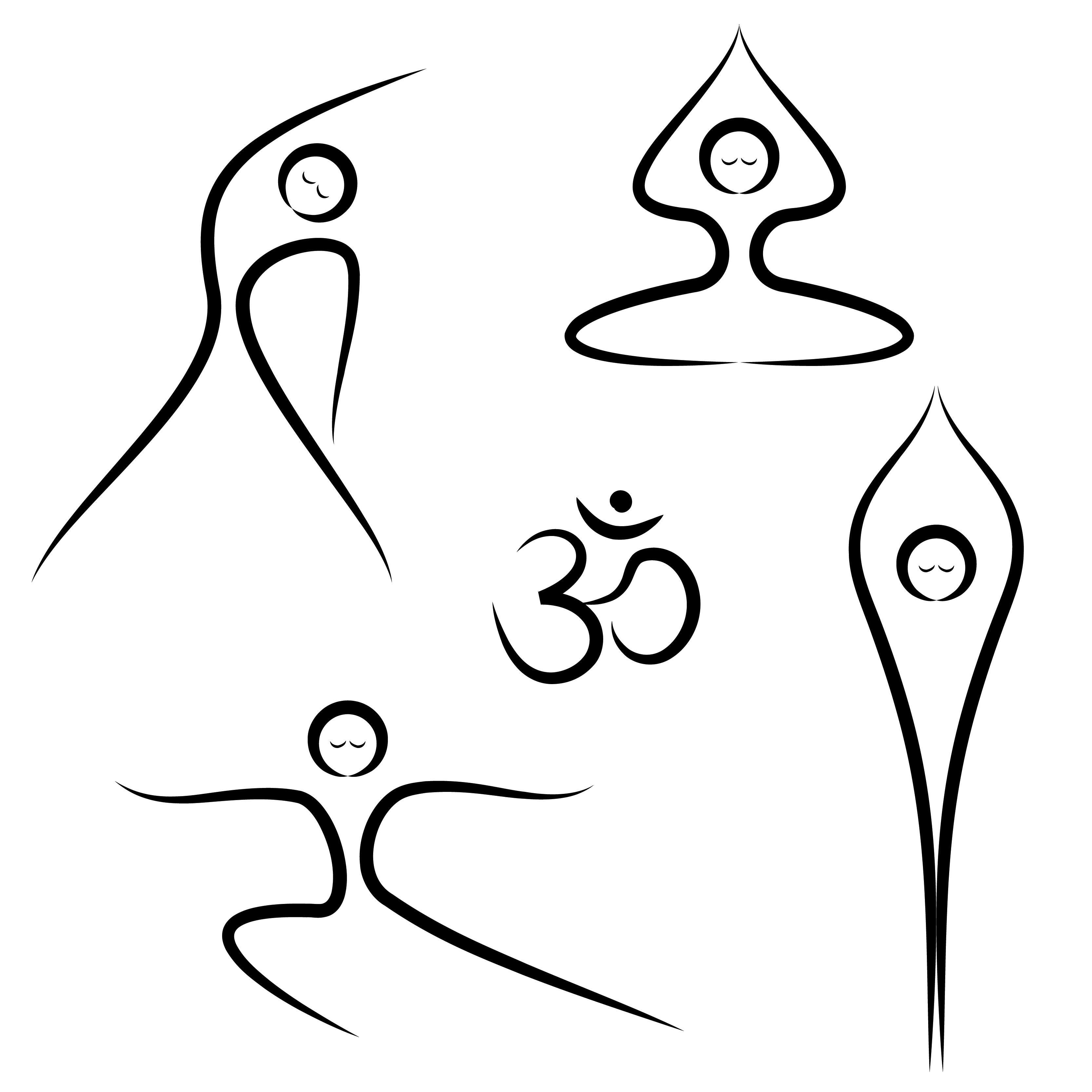 3333x3333 Four Stick Figures Doing Different Yoga Postures. Yoni Yoga Birth