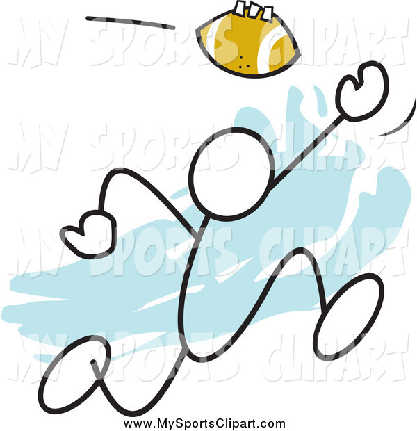 600x620 Sports Clip Art Of A Stick Man Catching A Football Over Blue By