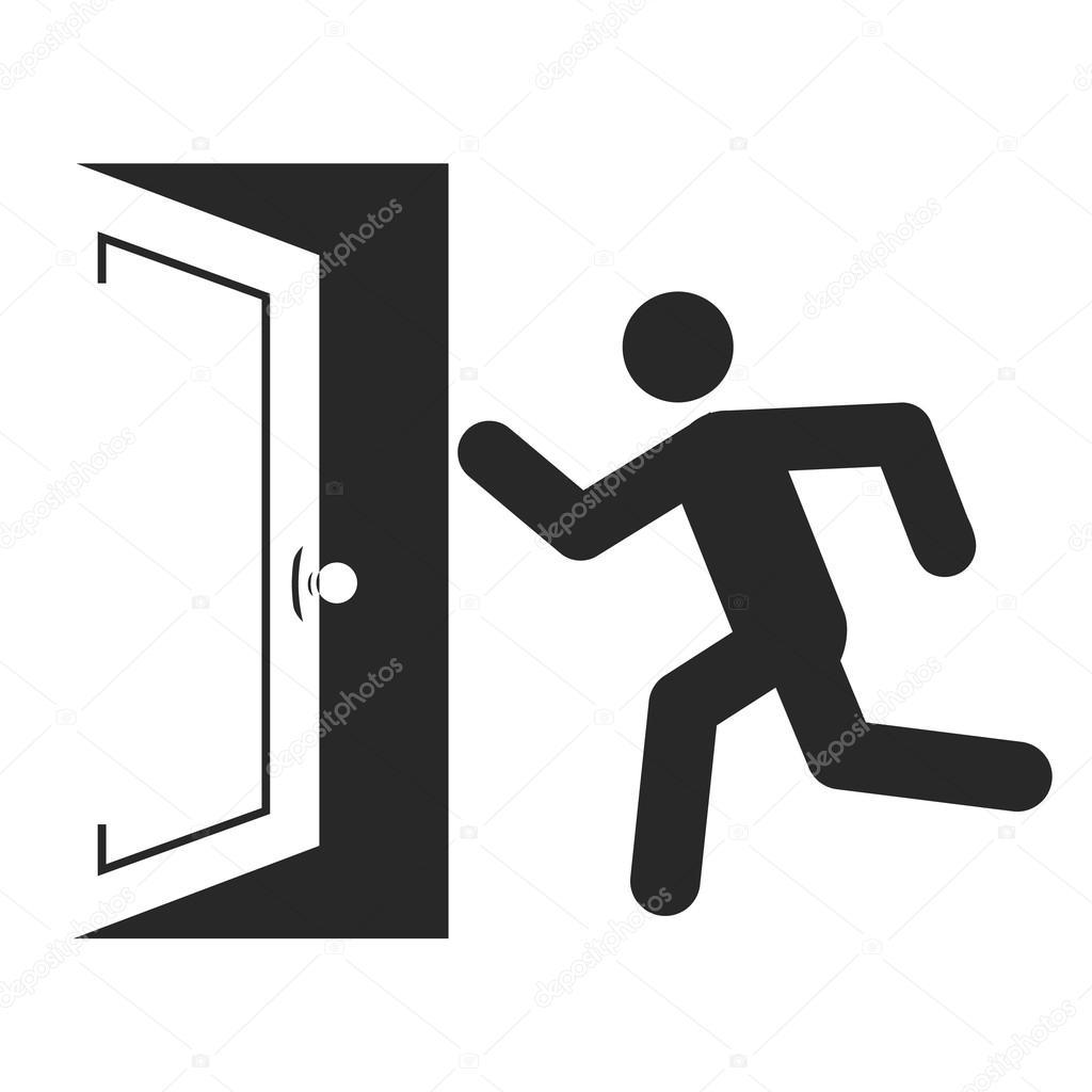 1024x1024 Stick Man Figure Enters Door Stock Vector Royalty