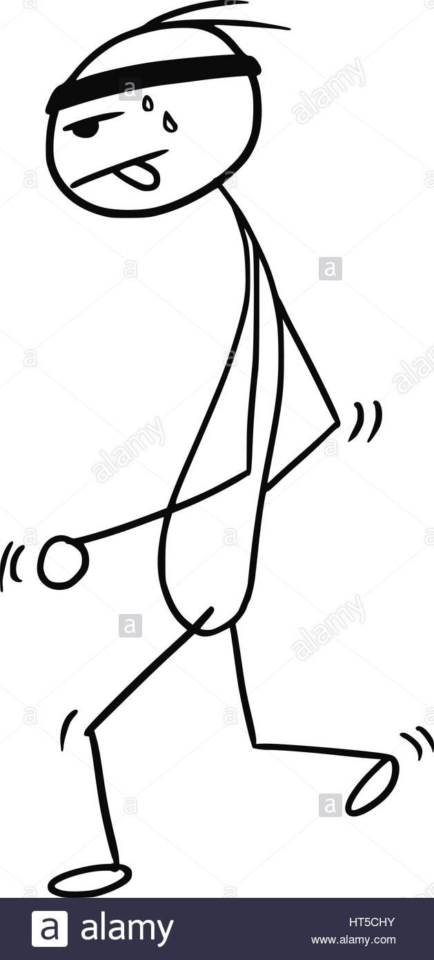 629x1390 Cartoon Vector Stickman Jogging Running Slowly Tired Stock Vector