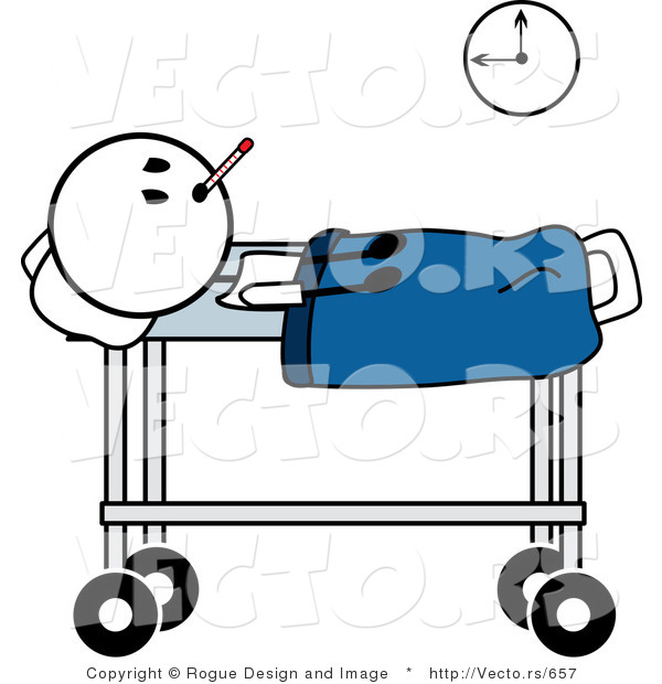 600x620 Vector Of A Sick Stick Man With A Fever By Pams Clipart