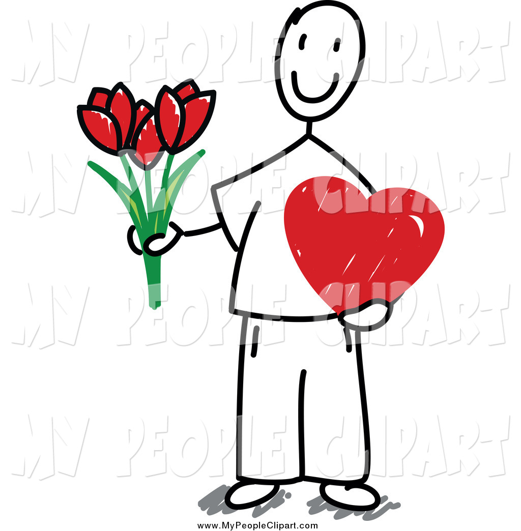 1024x1044 Clip Art Of A Valentine Stick Man Holding Flowers And A Heart By