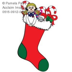 300x300 Clip Art Illustration Of A Christmas Stocking Filled With Toys