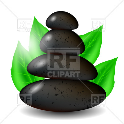 400x400 Spa Stones Background With Green Leaves Royalty Free Vector Clip