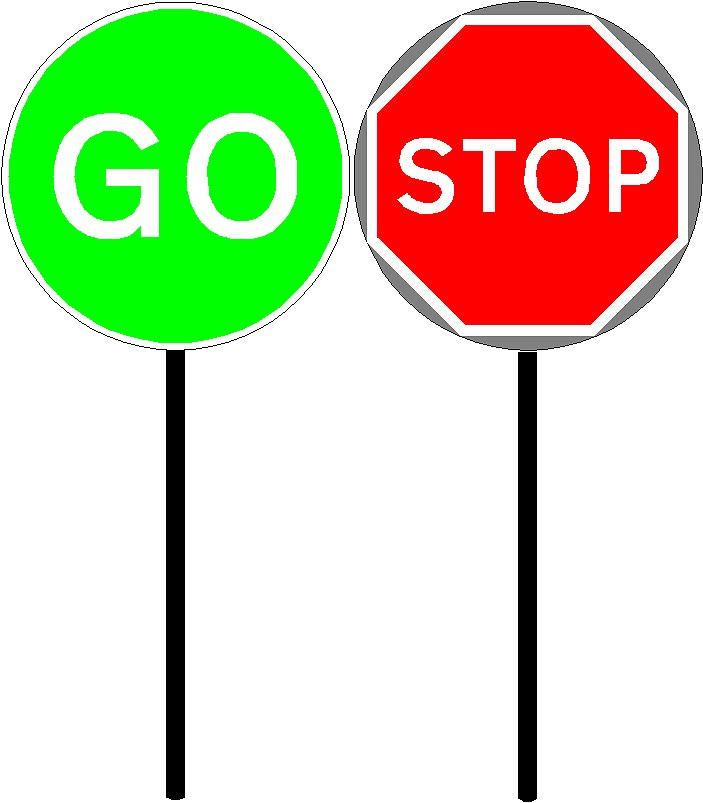 703x803 Stop And Go Signs Clipart