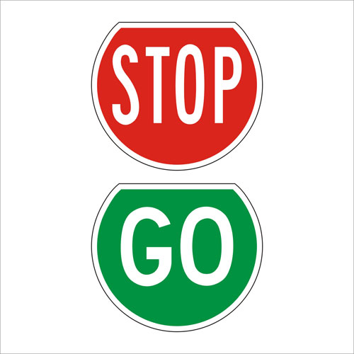 500x500 Stop Go Paddles Signs