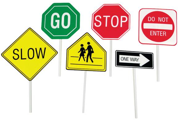 580x393 Play It Safe Hand Held Traffic Signs