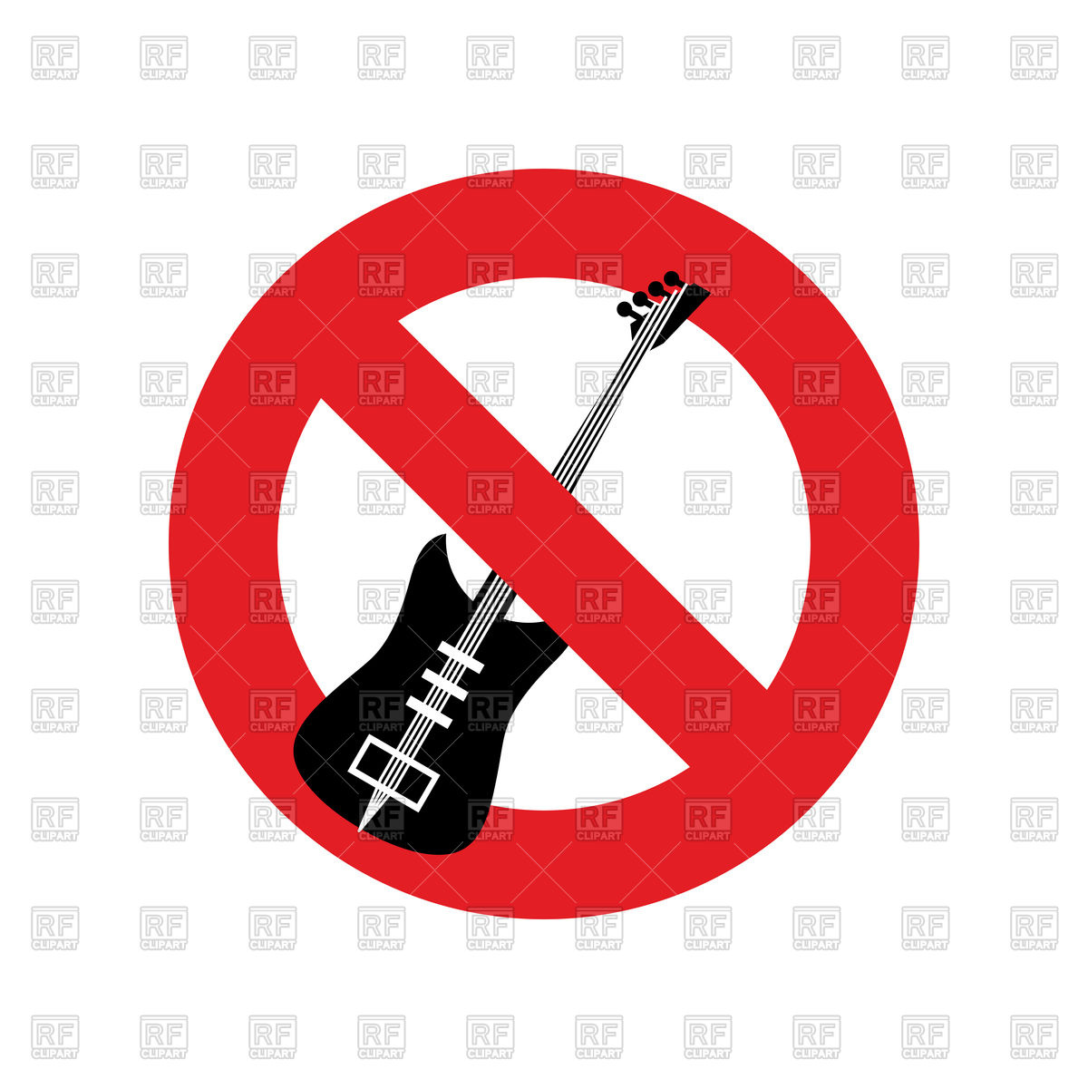 1200x1200 Stop Music Sign, Forbidden Electric Guitar Royalty Free Vector