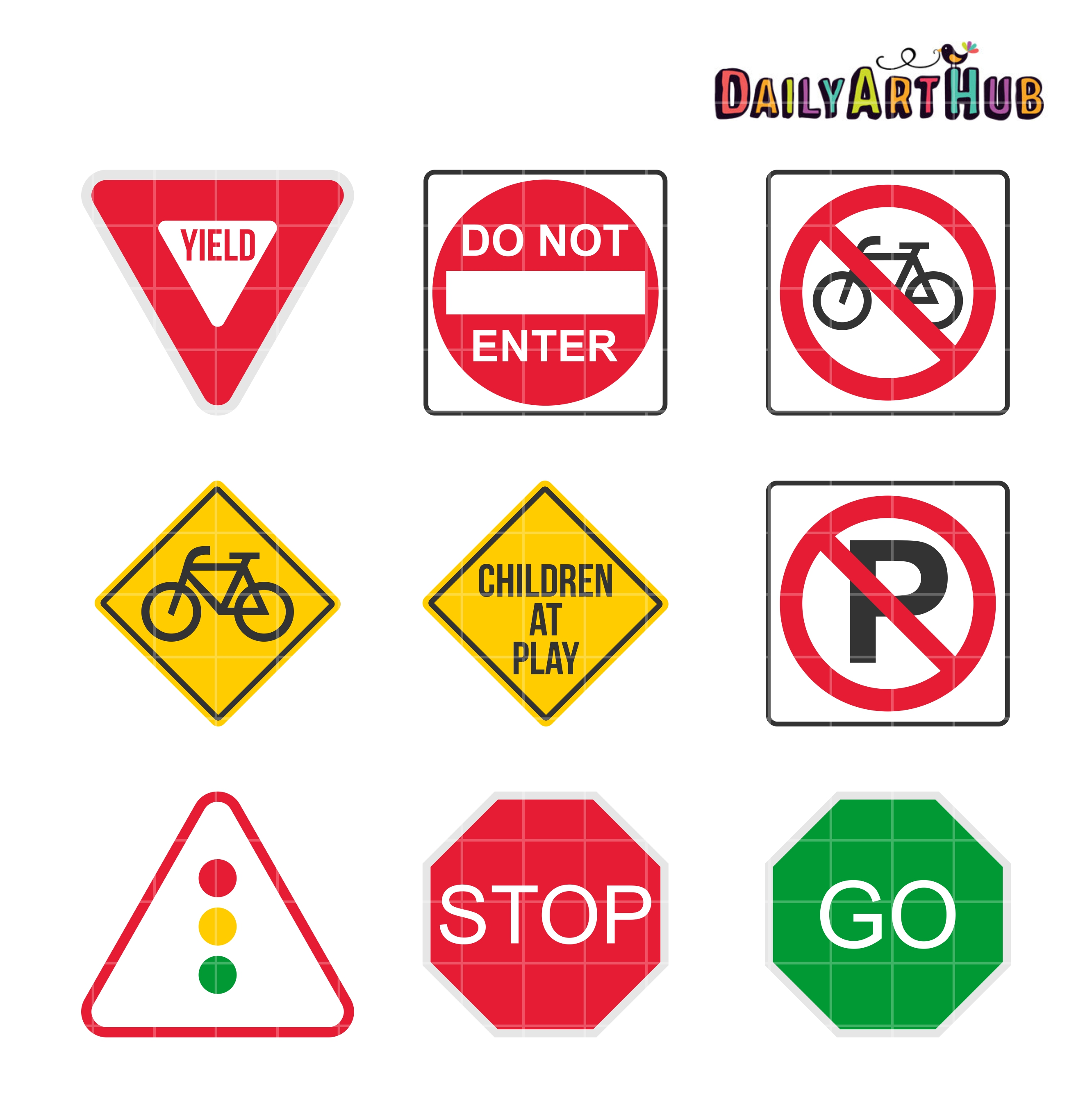 2664x2670 9 Road Signs Clip Art Set Daily Art Hub