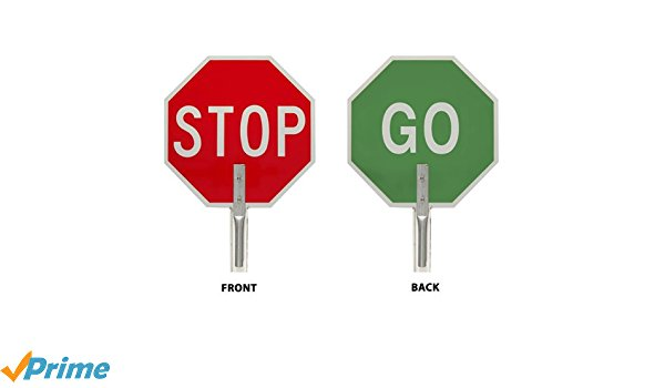 600x350 Brady 55775 Aluminum Stop Go Traffic Paddle Sign, White On Red