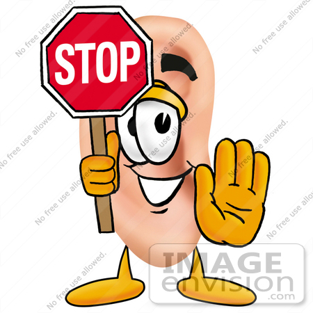 450x450 Clip Art Graphic Of A Human Ear Cartoon Character Holding A Stop
