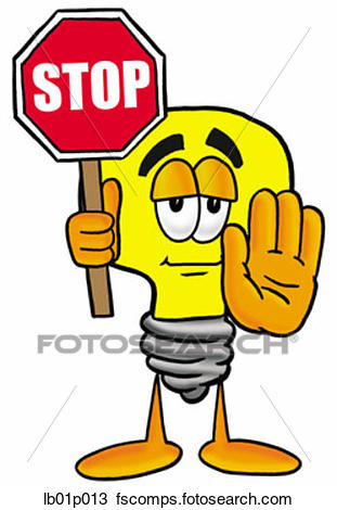 311x470 Clipart Of Light Bulb With Stop Sign Lb01p013