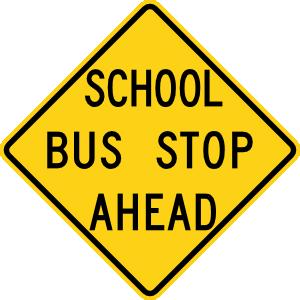 300x300 School Bus Stop Ahead Sign Clip Art