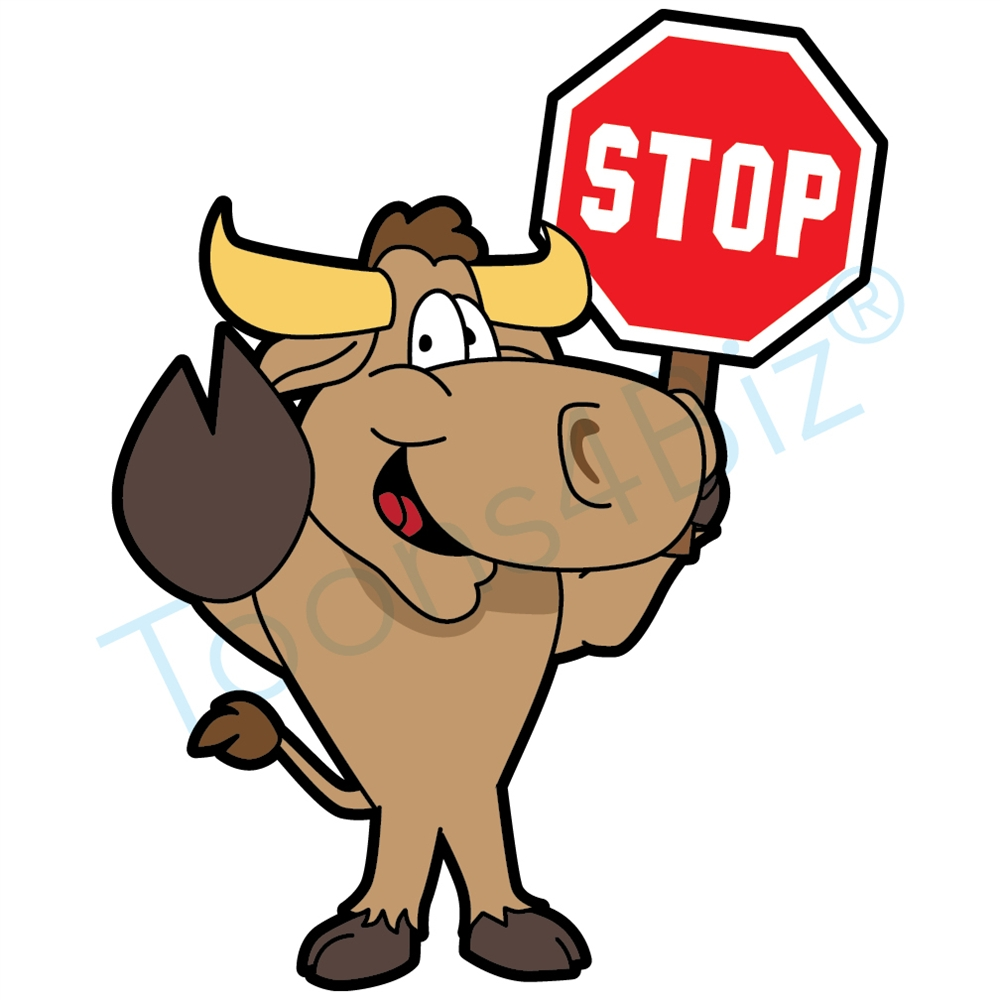 1000x1000 Bull Mascot Clip Art Holding A Stop Sign