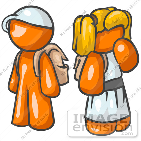450x450 Clip Art Graphic Of An Orange Character School Children Waiting