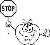 170x151 Clipart Of Outlined Apple Holding A Stop Sign K15640241