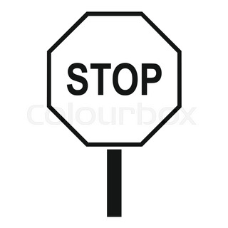 320x320 Stop Sign Icon White Isolated On Blue Background Vector