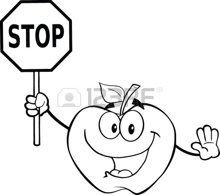 450x399 Black And White Apple Cartoon Mascot Character Holding A Stop