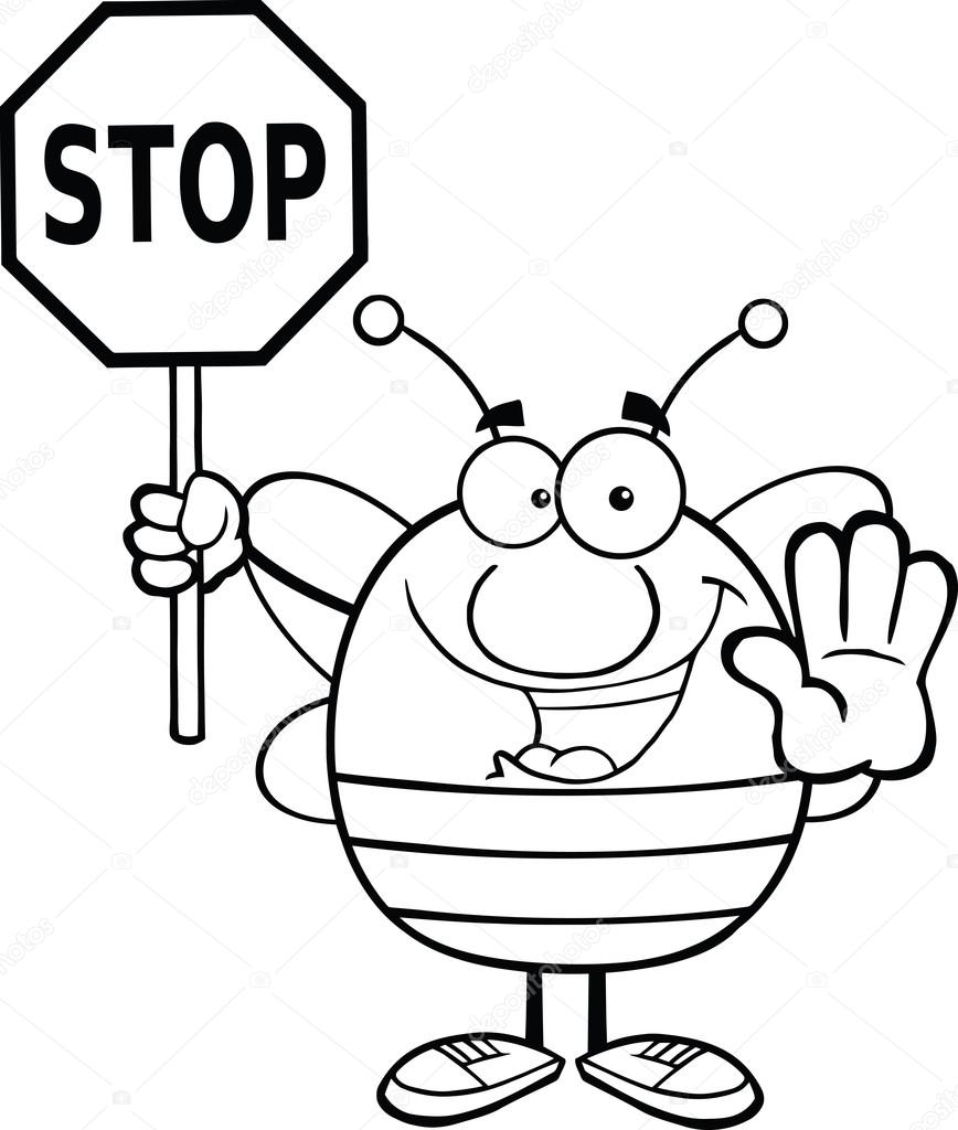 868x1024 Black And White Pudgy Bee Holding A Stop Sign Stock Photo
