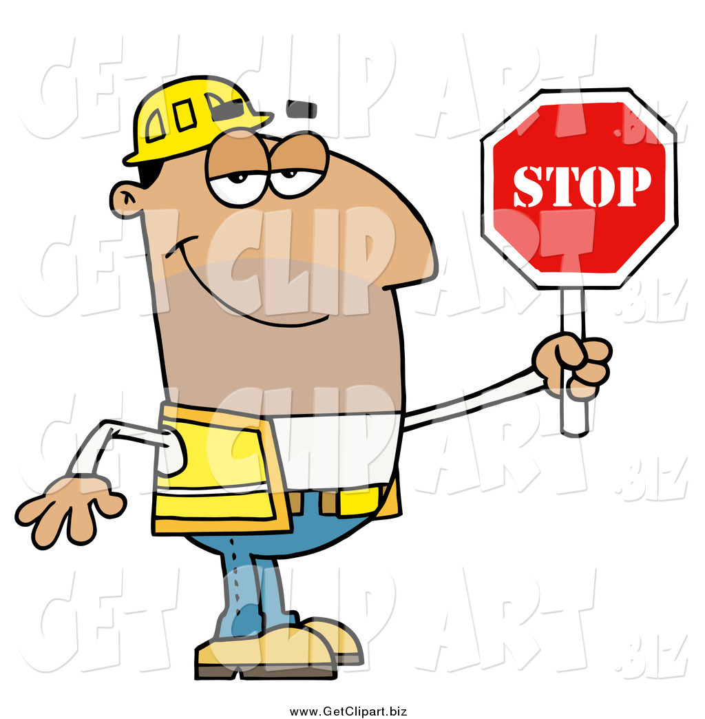 1024x1044 Clip Art Of A Male Hispanic Traffic Director Holding A Stop Sign